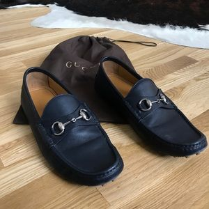 Blue Leather Gucci Loafers
